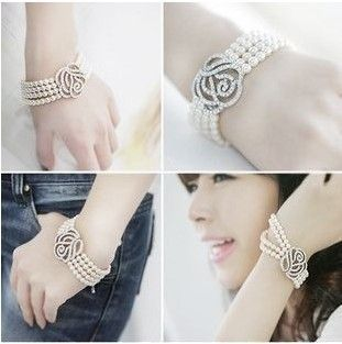 1pcs Fashion Cleary Crystal Rose Flower Tree Strand Pearl Bracelet