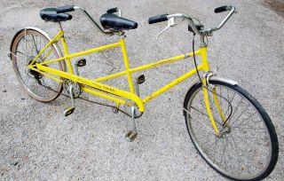 Vintage 1973 Schwinn Twinn Deluxe Tandem Bicycle Bike Yellow Rare
