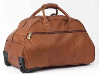 CLAIRECHASE WEEKENDER PREMIUM LEATHER ROLLING DUFFLE BAG   Cafe
