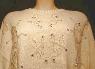 Claude Rene White Knit Sweater Top Rhinestone Plus 3X