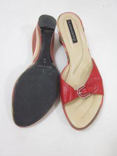 Claudia Ciuti Red Tan Buckle Sandals Shoes Heels Sz 8