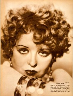 1934 Rotogravure Clara Bow Hoopla Beauty Star Actress It Girl Otto