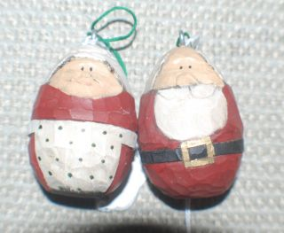 Ad Painted Wooden Santa and Mrs Claus Egg Shaped Ornaments