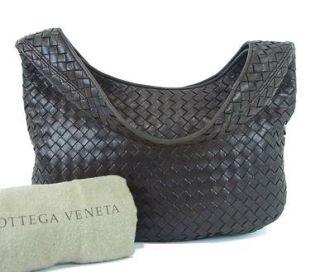 Authentic BOTTEGA VENETA Brown Woven Leather Shoulder Bag Purse Made