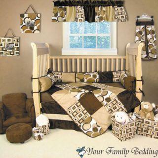 Chocolate Brown Dot Modern Solid Baby Boy Girl Neutral Crib Nursery