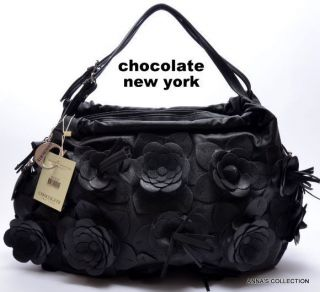 NWT Chocolate New York Black Floral Satchel Purse