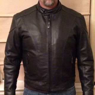 River Road Leather Motorcycle Jacket Size 48