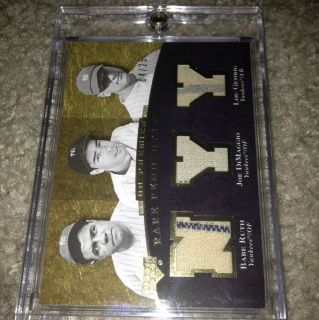 BABE RUTH JOE DIMAGGIO LOU GEHRIG 3PINSTRIPES 4 25 RARE REMNANTS