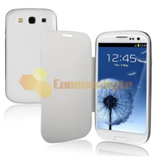 White Leather Flip Book Battery Case Clear Film for Samsung Galaxy S3