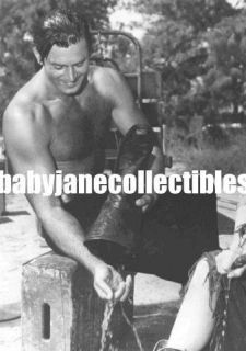 Clint Walker Hairy Chest Beefcake Leather Boot Photo