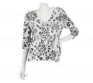 Kelly Clinton Kelly Animal Print Cardigan Sequins Grey Combo XL NEW