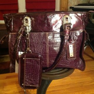 Madi Claire Burgandy Patent Leather Croco Embossed Handbag Tote And