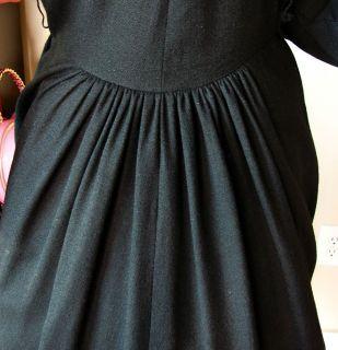 Claire McCardell Townsley Dress 40s 50s Black Wool LBD Vtg Raglan
