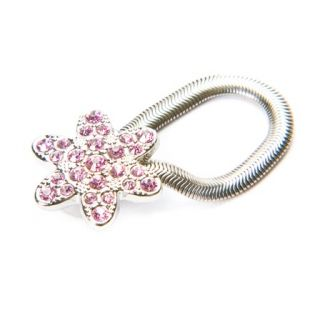 Pink Flower Crystal Eye Glass Clip Magnetic Holder New