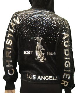 Christian Audigier Rhinestone Platinum Silver Women Hoodie Jacket Ed
