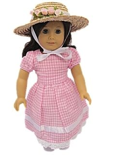New 18 Doll Clothes for American Girl Dolls Addy Molly Cotton Dress