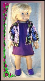 Doll Clothes Sundress Purple Shirt Lilacs Fit 18 inch American Girl