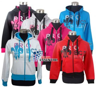 Womens Ladies Hooded Project Sequin Embroidery Hoodie Top Jacket Sizes