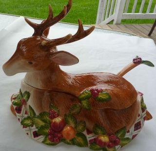 Discontinued Deer NORITAKE Royal Hunt Reindeer Soup Tureen w Ladle