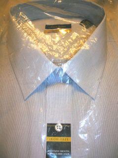 Club Room Men $59 Sharp Dress Shirt No Wrinkle Gray Pinstripe 2XL 18 5