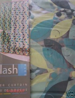 blue green fish on clear vinyl shower curtain new many more great