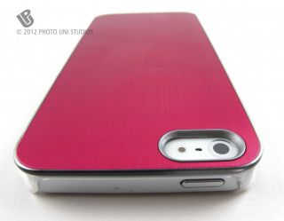 Pink Aluminum Clear Side Rear Hard Case Cover Apple iPhone 5 6th Gen