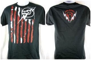 Cm Punk American Flag Nexus Black T Shirt New