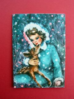 Crestwick Unused Christmas Greeting Card Girl with Deer in Snow Lovely