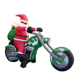 Airblown Christmas Inflatable Santa Riding On Chopper Motorcycle