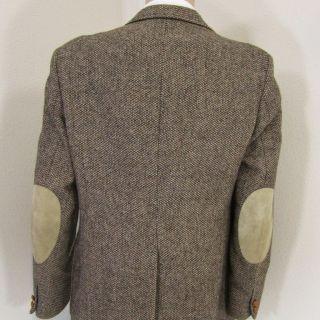 40 R Christopher Brooks Brown Tweed Wool Leather 2 Btn Mens Jacket