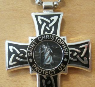 Saint Christopher Surf Cross Protector of Travel SM BK Smoke Black