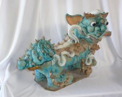 Chinese Antique Colorful Carved Shiwan Foo Dog AWK1217
