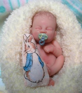 OOAK MINIATURE 2 inch Polymer Clay Newborn Baby Boy Art Doll 3 DAY