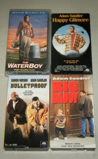 Adam Sandler 4 VHS Movies Waterboy Happy Gilmore Big Daddy Bulletproof
