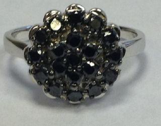 00ct Beautiful Black Round Diamond Cluster Ring 9K White Gold