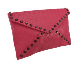 Hot Pink Skull Embossed Envelope Clutch Purse with Hematite Studs