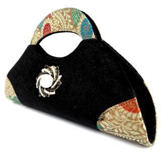 Black Velvet Party Clutch Women Evening Wedding Bridal Handbag Handled