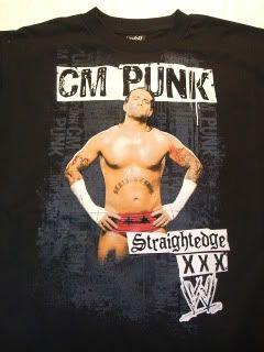 Cm Punk Straight Edge WWE Wrestling Black T Shirt
