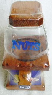 Vintage NUTS peanuts Wood/Glass DISPENSER Table Top Orig. ShrnkWrp