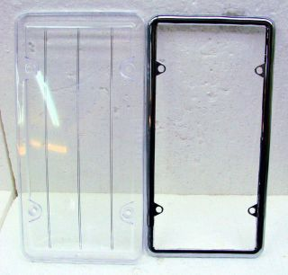 LICENSE PLATE FRAME W/ PLASTIC PROTECTIVE CLEAR SHIELD/BUG COVER*ZA