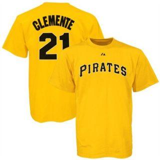 ROBERTO CLEMENTE #21 Pittsburgh Pirates Majestic T Shirt Jersey