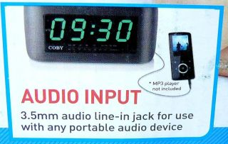 Coby Jumbo 2 Digital Alarm Clock Am FM Radio  Input