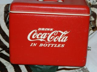 VINTAGE Coke Coca Cola Cooler Ice Chest Vinyl W Metal Bottle Opener