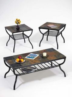 NEW 3PC NATURAL STONE SLATE TOP BLACK METAL COFFEE END TABLE SET