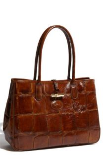 Longchamp Tortoise Embossed Leather Tote