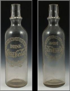 Rare Antique Coca Cola Syrup Dispenser / Soda Bottle w/ Enamel Wreath