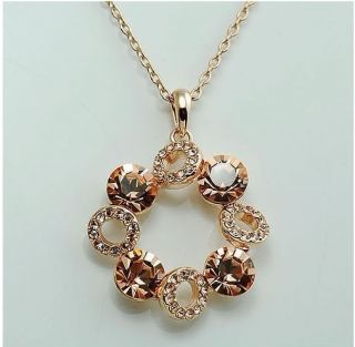 Plated Multicolour Blue Glass Crystal Circle Pendant Necklace