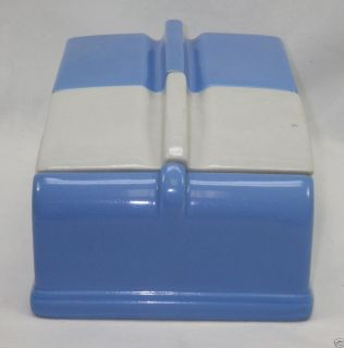 Vintage Hall China Company Coldspot Refrigerator Dish Blue & White 4