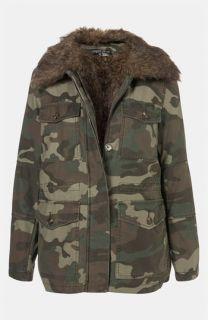 Topshop Faux Fur Lined Camo Utility Jacket (Petite)
