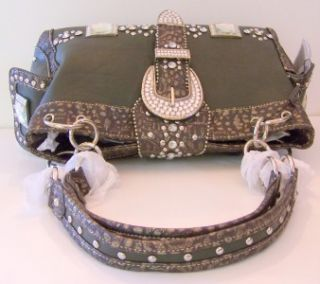 NWT Montana West Green/Brown Leather Handbag Dazzling Silver Studs RS